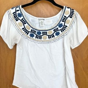 LUCKY BRAND Embroidered White Top XS